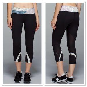 Lululemon Run Inspire Crop Black Quilt Leggings 6